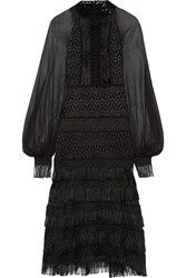 Jonathan Simkhai Fringed Silk Chiffon Paneled Guipure Lace Midi Dress Black
