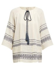 Zeus Dione Aegina Embroidered Cotton Blend Blouse Ivory Multi