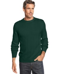 John Ashford Big And Tall Ribbed Crew Neck Sweater Myrtle Green