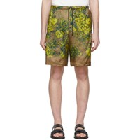 Dries Van Noten Beige And Yellow Floral Piper Shorts