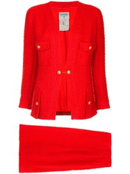 Chanel Vintage Waffle Texture Skirt Suit Red