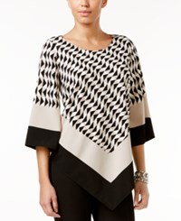 Alfani Printed V Hem Top Only At Macy's Geometric Black Stone