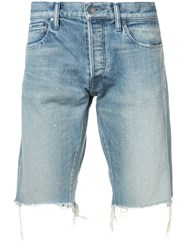 John Elliott Distressed Style Shorts Blue