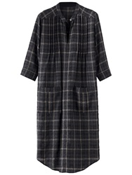 Poetry Wool Check Tunic Dress Charcoal