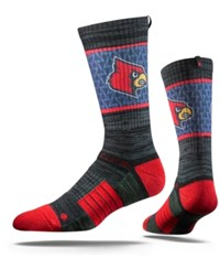 Strideline Louisville Cardinals Crew Socks Black Red