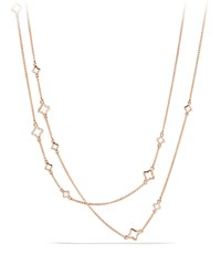 Venetian Quatrefoil Link Chain Necklace With Diamonds In Rose Gold David Yurman Pink