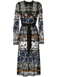 Yigal Azrouel Botanic Embroidered Lace Dress Black
