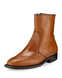 The Row Brando Flat Leather Ankle Boot Caramel