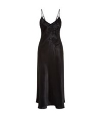 Harrods Of London Silk And New Lace Long Chemise Black