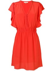 Vanessa Bruno Embellished V Neck Midi Dress Orange