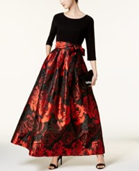 Jessica Howard Rose Jacquard Sash Gown Black Red