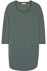 James Perse Raglan Sleeve Cotton Blend Jersey Mini Dress Green