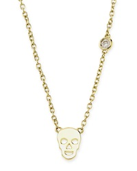 Shy By Sydney Evan Gold Skull Pendant Bezel Diamond Necklace