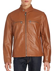 Andrew Marc New York Bedford Moto Jacket Cognac