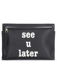 Loewe Embellished Leather Pouch Black