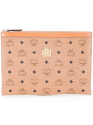 Mcm Logo Printed Clutch Brown