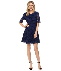 Vince Camuto Lace Elbow Sleeve Fit And Flare Dress W Shirring And V Back Blue Women's Dress