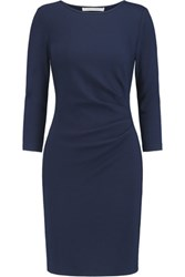 Diane Von Furstenberg Emmie Gathered Wool Jersey Dress Midnight Blue