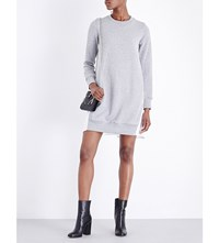 Sacai Contrast Back Cotton Jersey Sweatshirt Dress Gray Offwhite