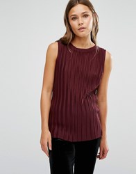 New Look Pleated Jersey Vest Top Burgundy Red