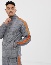 Liquor N Poker Funnel Neck Tracksuit Jacket With Side Stripe In Grey Check