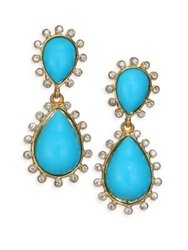 Kenneth Jay Lane Cabochon Clip On Teardrop Earrings Turquoise
