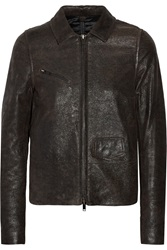Mm6 Maison Margiela Brushed Leather Jacket Gray