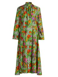 Balenciaga Floral Print Gathered Neck Jersey Dress Green Multi