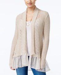 Jessica Simpson Tovelo Ruffled Open Front Cardigan Light Beige