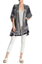 French Connection Knit Jacquard Linen Print Cardigan White