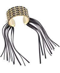 Thalia Sodi Gold Tone Faux Leather Fringed Cuff Bracelet Only At Macy's Black