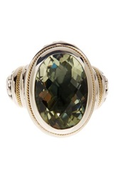 Phillip Gavriel 18K Yellow Gold And Sterling Silver Oval Green Amethyst Ring