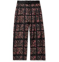 Sasquatchfabrix. Pleated Floral Print Wool Twill Drawstring Wide Leg Trousers Black