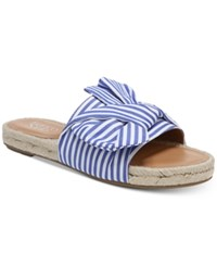 Franco Sarto Phantom Platform Espadrille Slip On Sandals Blue Stripes Cotton Fabric