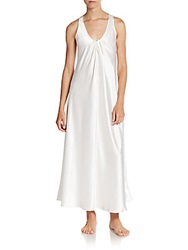 Oscar De La Renta Sleepwear Satin Charmeuse Long Gown Ivory