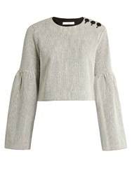 Tibi Bell Sleeved Cropped Crinkled Ribbed Knit Top Ivory Multi
