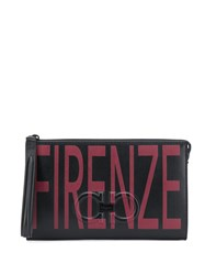 Salvatore Ferragamo Firenze Print Clutch Black
