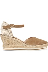 Paloma Barcelo Woven Canvas And Suede Wedge Sandals Nude
