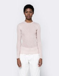 Achro Round Neck Thin Ribbed Knit Top Dusty Pink