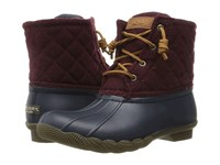 Sperry Saltwater Quilted Wool Navy Maroon Women's Shoes Blue