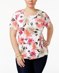 Karen Scott Plus Size Printed T Shirt Only At Macy's Peony Coral