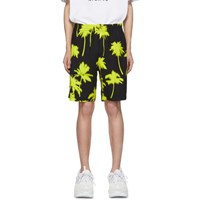 Msgm Black And Yellow Palm Trees Shorts