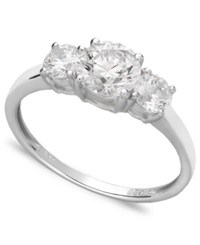 Arabella 14K White Gold Ring Swarovski Zirconia Small Three Stone Ring 2 3 8 Ct. T.W.