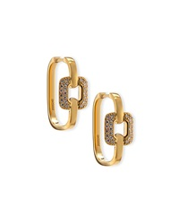 Mimi So 18K Yellow Gold Pave Square Hoop Earrings Gold Red Tan