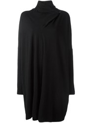 Missoni Vintage Asymmetric Collar Knit Dress Black