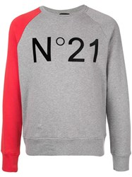 N 21 No21 Contrast Logo Patch Sweatshirt Grey