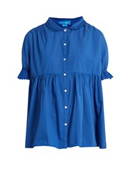 Mih Jeans Ola Puff Sleeved Smocked Cotton Top Blue