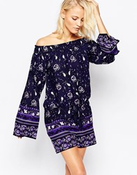 Diya Off The Shoulder Playsuit With Bell Sleeves In Paisley Print Purple