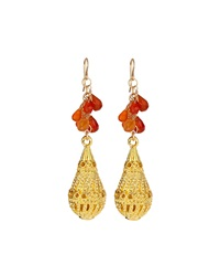 Devon Leigh 18K Yellow Gold Tear Drop Dangle Earrings With Carnelian