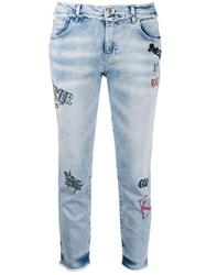 Twin Set Embroidered Five Pocket Jeans Blue